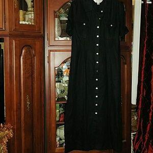 Casual Corners classy Black Linen Maxi dress
